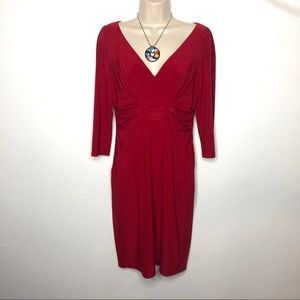 David Meister Red V neck cocktail dress 4